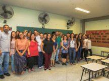 Início das aulas do Curso de LIBRAS 2018, com a secretária Adriana Gomes da Fonseca e professores. Foto: Divulgação/PMSCS
