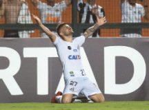 Sasha comemora um de seus gols no Pacaembu. Foto:  Ivan Storti/Santos FC