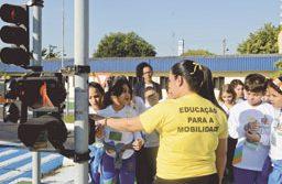 Ao longo de todo o mês, atividades de orientação para os alunos da rede municipal de ensino ocorrem no Centro de Reflexão do Trânsito. Foto: Gabriel Inamine/PMSBC