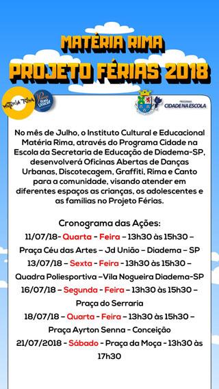 Instituto Matéria Rima oferece durante as férias escolares oficinas culturais gratuitas em locais públicos de Diadema