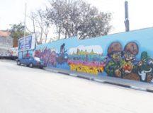 Ação foi iniciativa do Instituto Matéria Rima, que entrou em contato com os artistas. Foto: Adriana Horvath/PMD