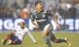 Dudu comemora gol que encerrou jejum de mais de mais de dois meses sem balançar as redes. Foto: Cesar Greco/Agência Palmeiras